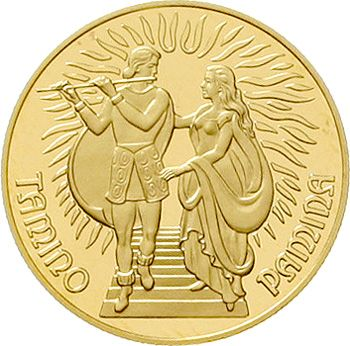 1000 ÖS 1991 Mozart / magic flute. 16 g. Fine gold. In capsule. Nice 196. proof coinage