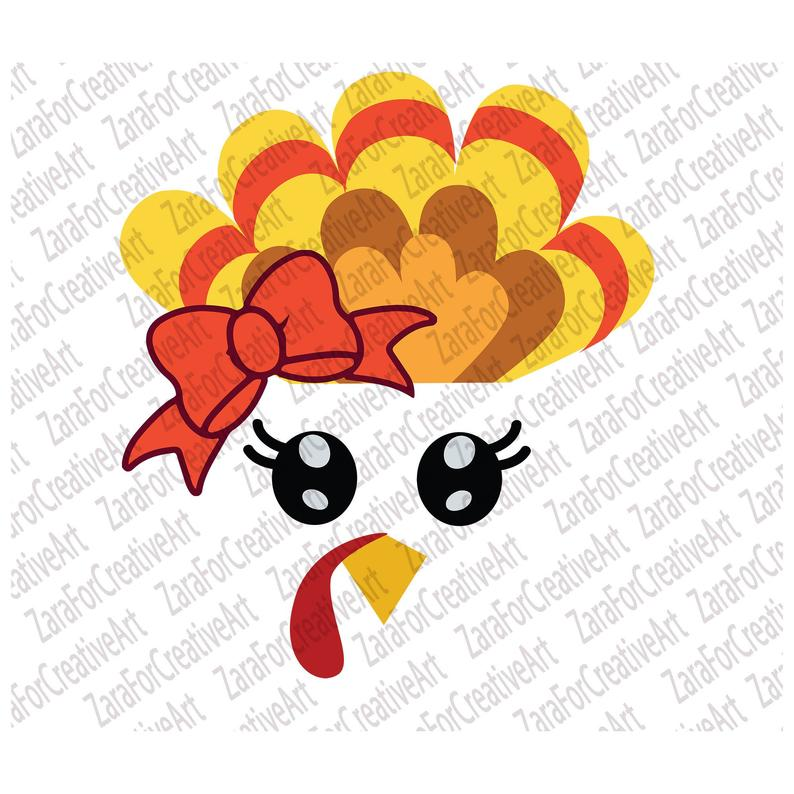 Turkey face svg Thanksgiving Svg Turkey Clipart Turkey