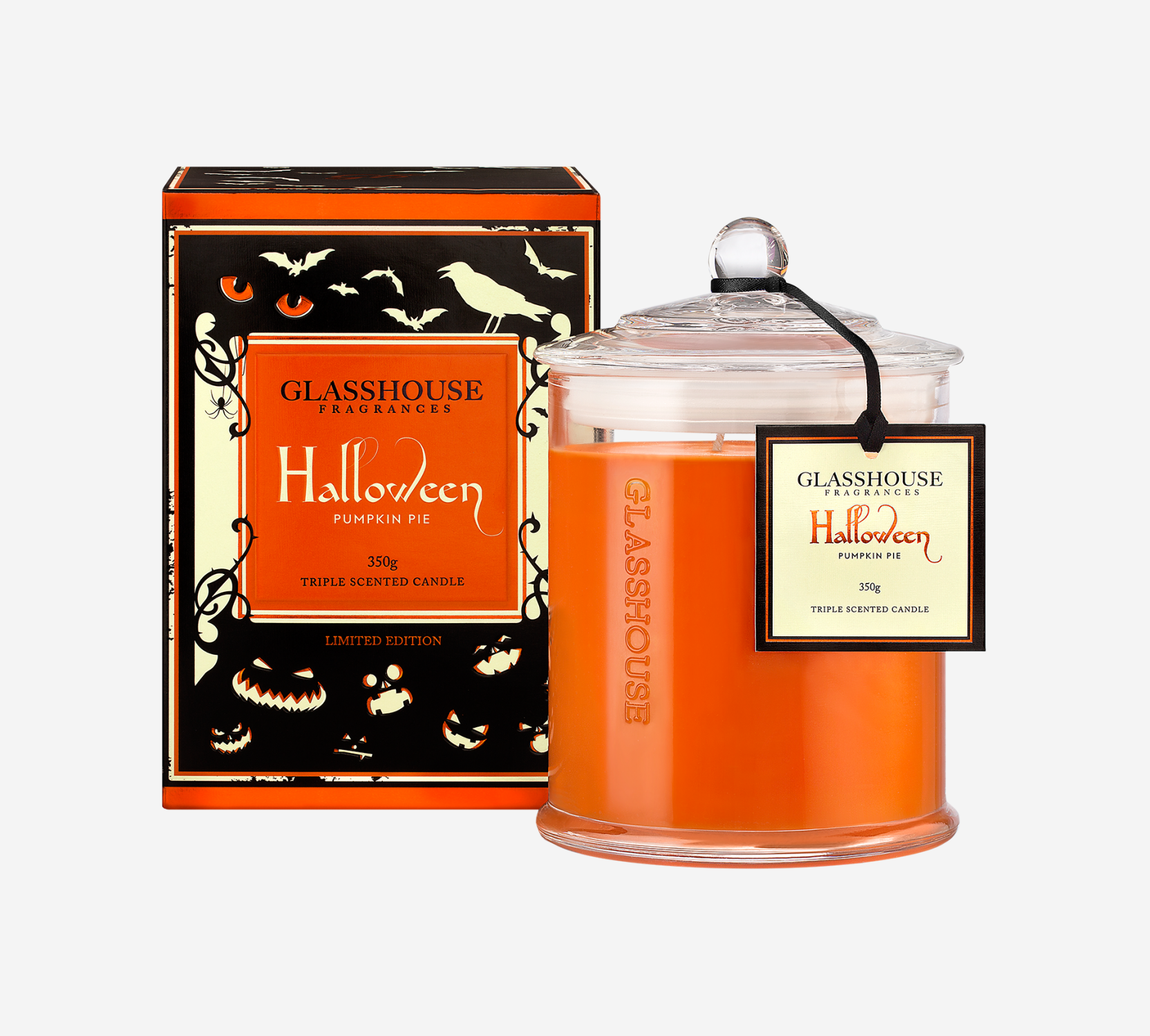 Limited Edition Halloween Pumpkin Pie Candle By Glasshouse Fragrances