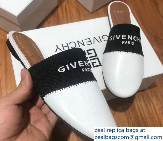 99cb79be3041 Givenchy Logo Leather Bedford Flat Mules White 2018