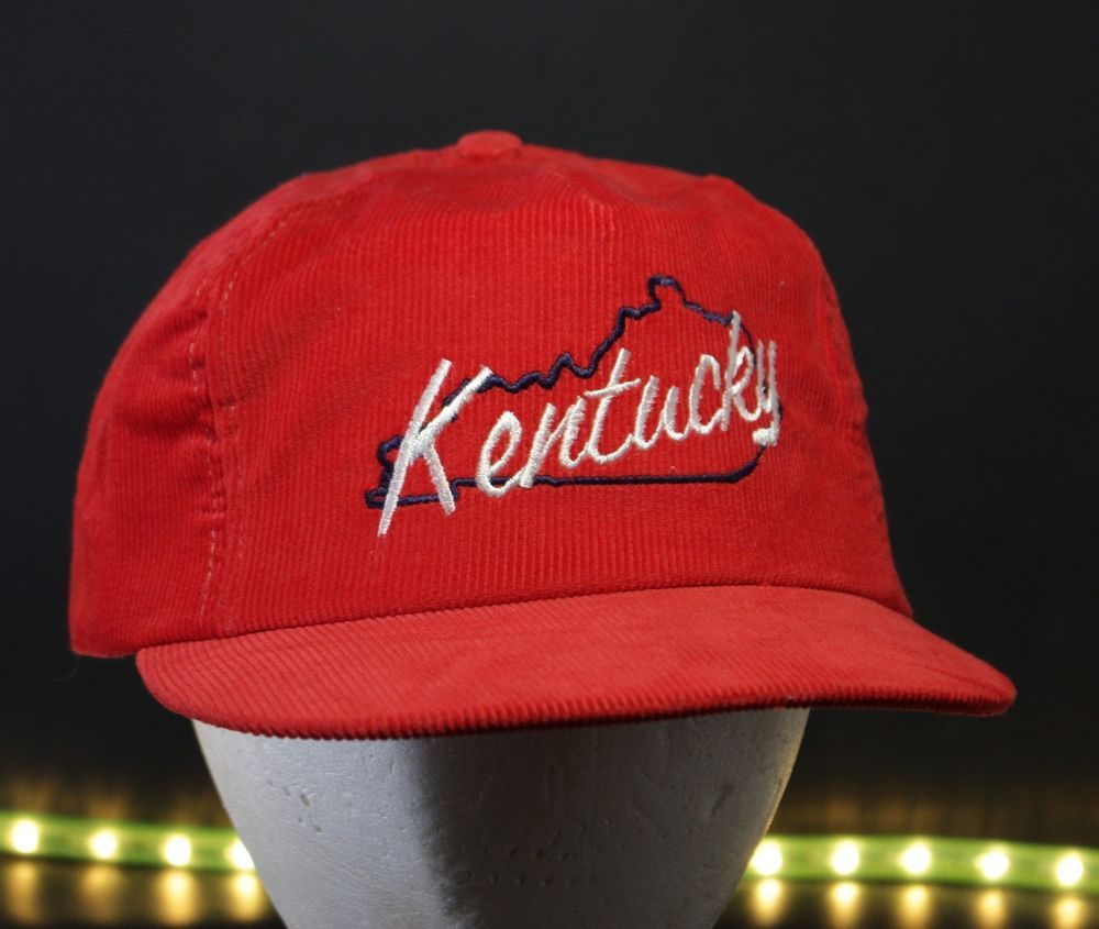 7e88dedb Vintage Kentucky Corduroy Trucker Hat Baseball Cap Snapback Red Retro USA  Made #HaT #TruckerCap