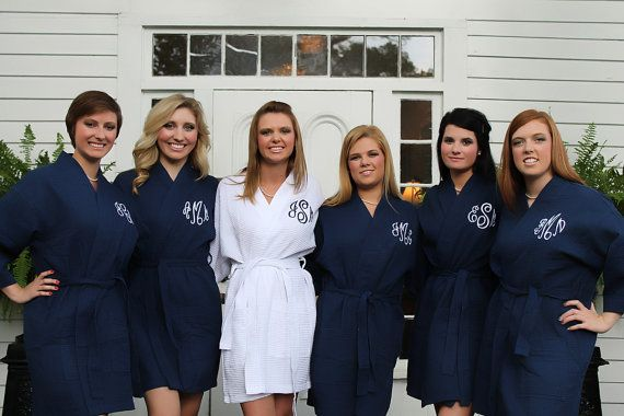 88af90f2dc Navy Robe Monogram Bridesmaids Gift waffle weave personalized embroidered  on Etsy
