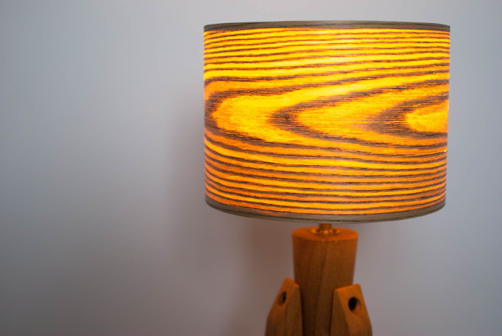 Tripod Table Lamp Desk Lamp Tripod Retro 60 70 Design Wood Veneer