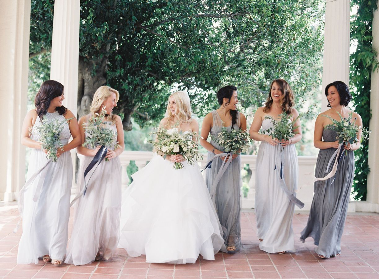 Fresh greens, whites, cremes bouquets + Shades of grey neutral bridesmaid dresses
