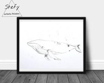 Illustration Baleine Affiche Baleine Noir Et Blanc Poster Baleine