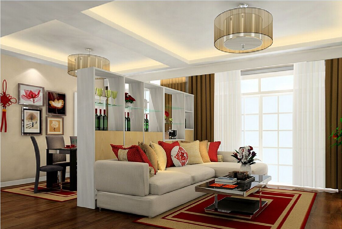 Living Dining Room Cabinets: 3D Rendering Of Display Cabinets Partition For Living