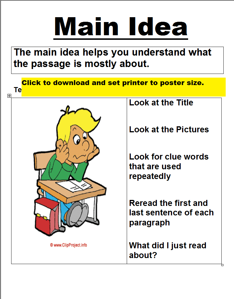 main idea worksheets printable | posters (printable) | education