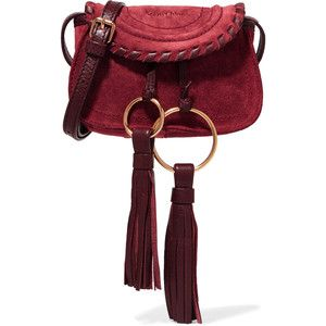 93c674f9fa See by Chloé Polly mini leather-trimmed tasseled suede shoulder bag ...