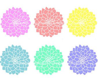 items similar to hand draw clipart flower cliparts dahlia
