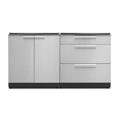 Newage Products Outdoor Kitchen 65106 Stainless Steel 2 Piece Cabinet Set With Door And Drawer Cabinets Custom Countertops Outdoor Kitchen Cabinets
