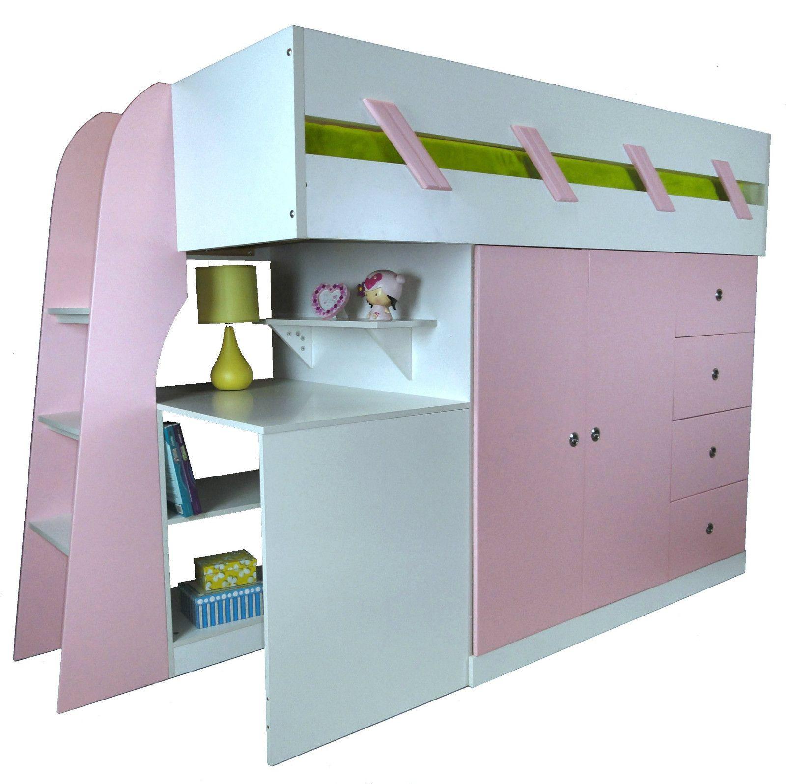 Loft bunk bed with desk  SINGLE LOFT CABIN BUNK BED WARDROBE DESKBOOKCASEMattress Kids