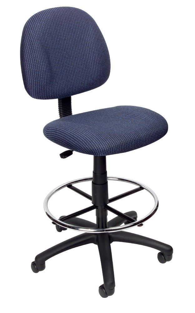 Height Adjustable Drafting Stool With Footring Color/Fabric: Blue Twill,  Arms: Not Included