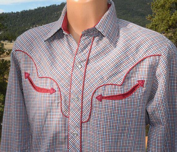 fff4e8ce vintage 70s western shirt KENNY ROGERS karman plaid piping | Vintage ...
