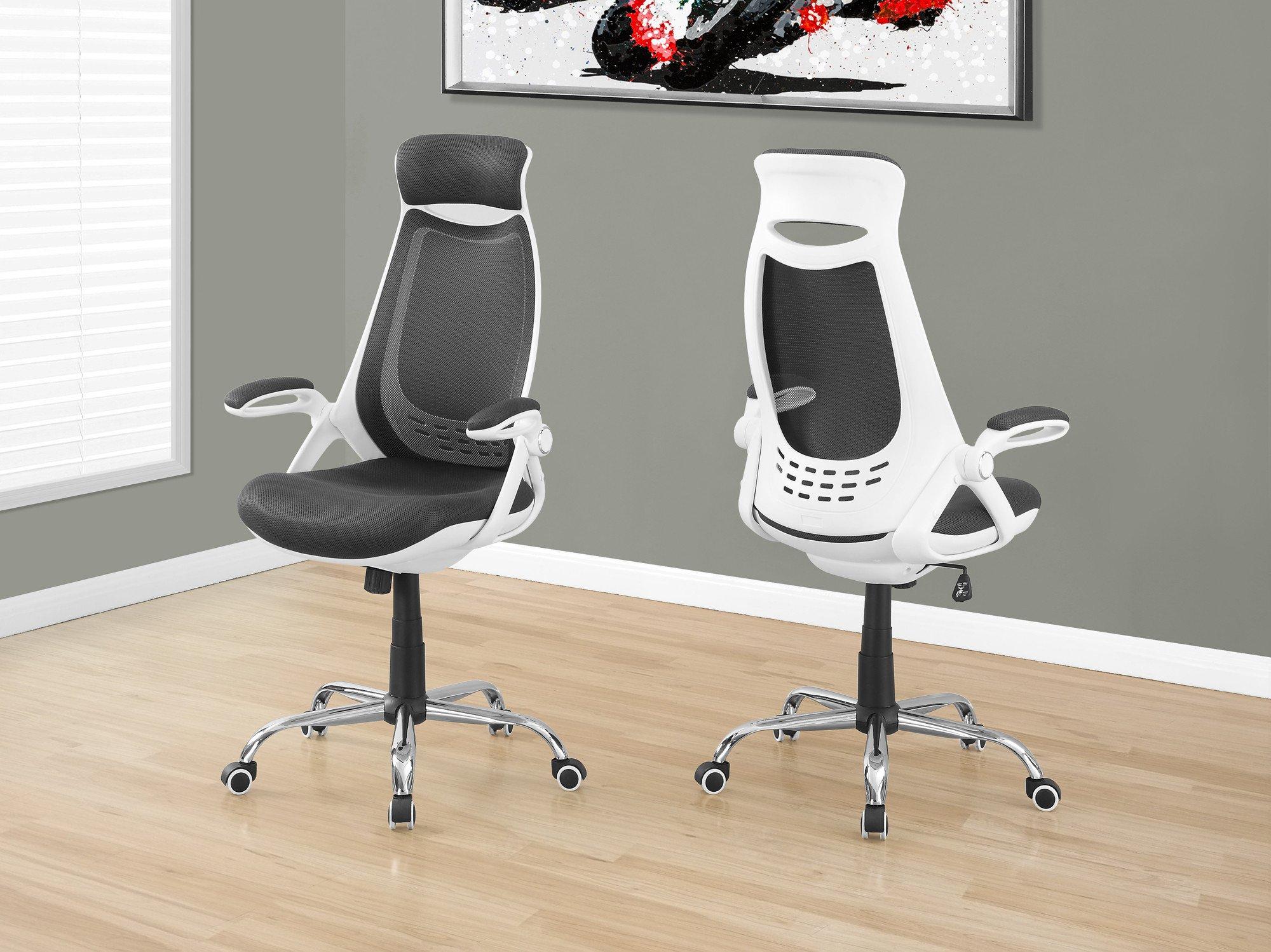 Premium Ergonomic White Black Mesh Office Chair With Headrest