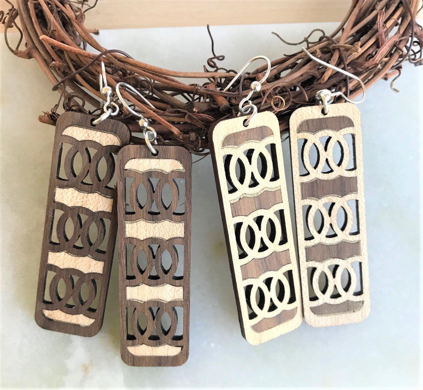 Wood Inlay Long Drop Interlinking Circles Earrings, Custom ...