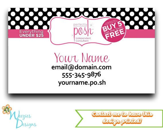 Perfectly Posh Business Card Direct Sales By Weeziesdesigns Posh