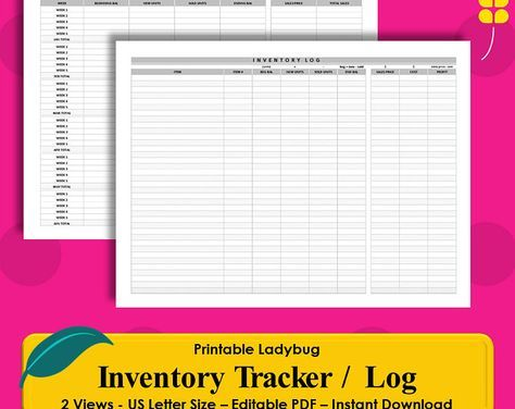 Printable inventory log inventory tracker business finance organizational templates calendars planners by printableladybug flashek Choice Image