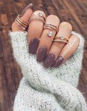 #Acrylic #Grey #Ideas #Nails #sim #simple