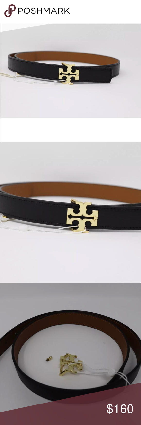 948b85a4b1c5 Reversible black brown Leather belt Reversible logo black  brown 1 inch  wide - 100% Authentic Color  Tiger s Eye Black  brown Tory Burch Other