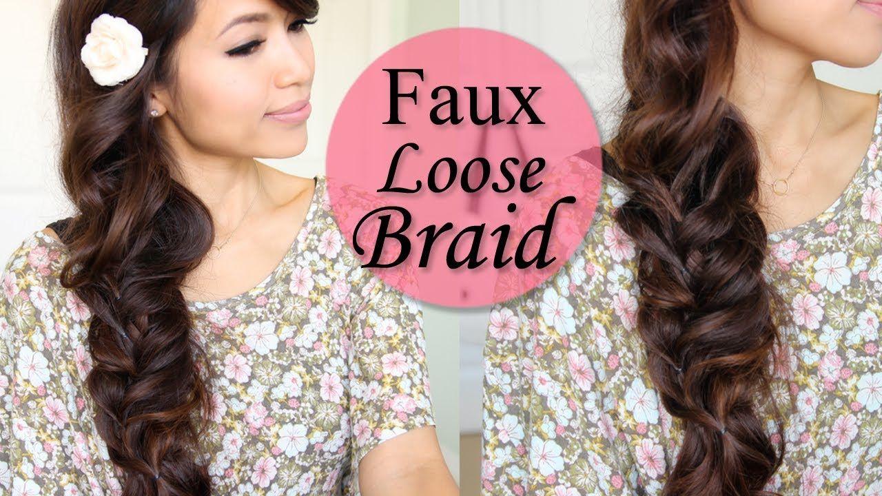 Spring Hairstyle: Faux Loose Braid Curly Hair Tutorial | Hair ...