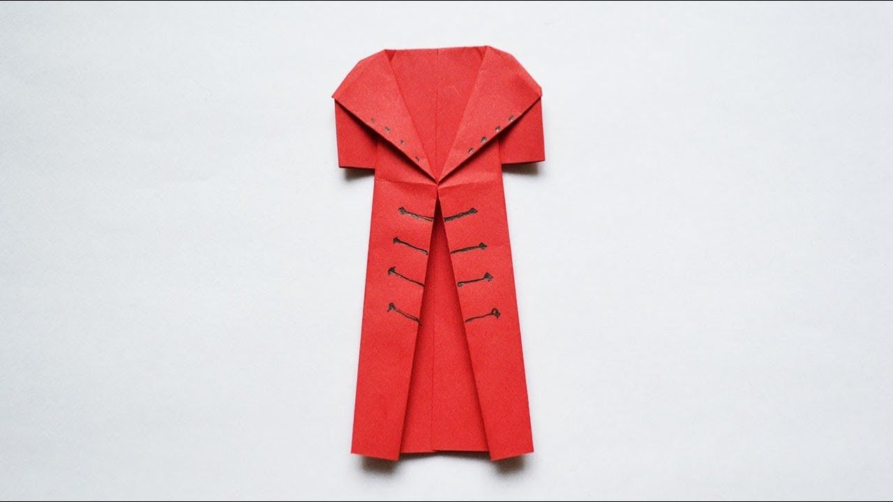 How To Make Uniform Origami Clothes Coat Out Of Paper Tutorial Diy Paper Clothes Coat Clothes