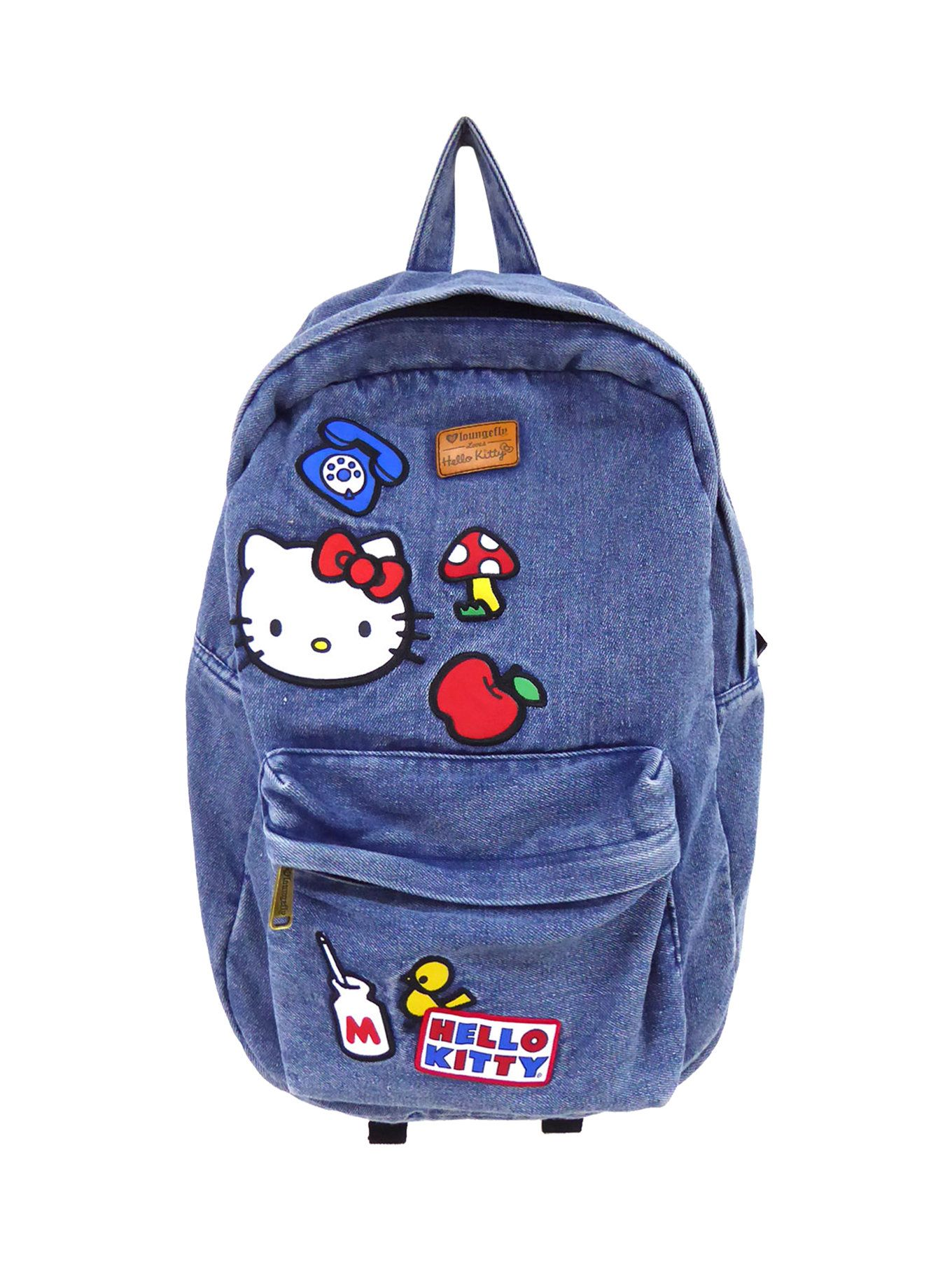 527f44e3e5 Loungefly Hello Kitty Patches Denim Backpack