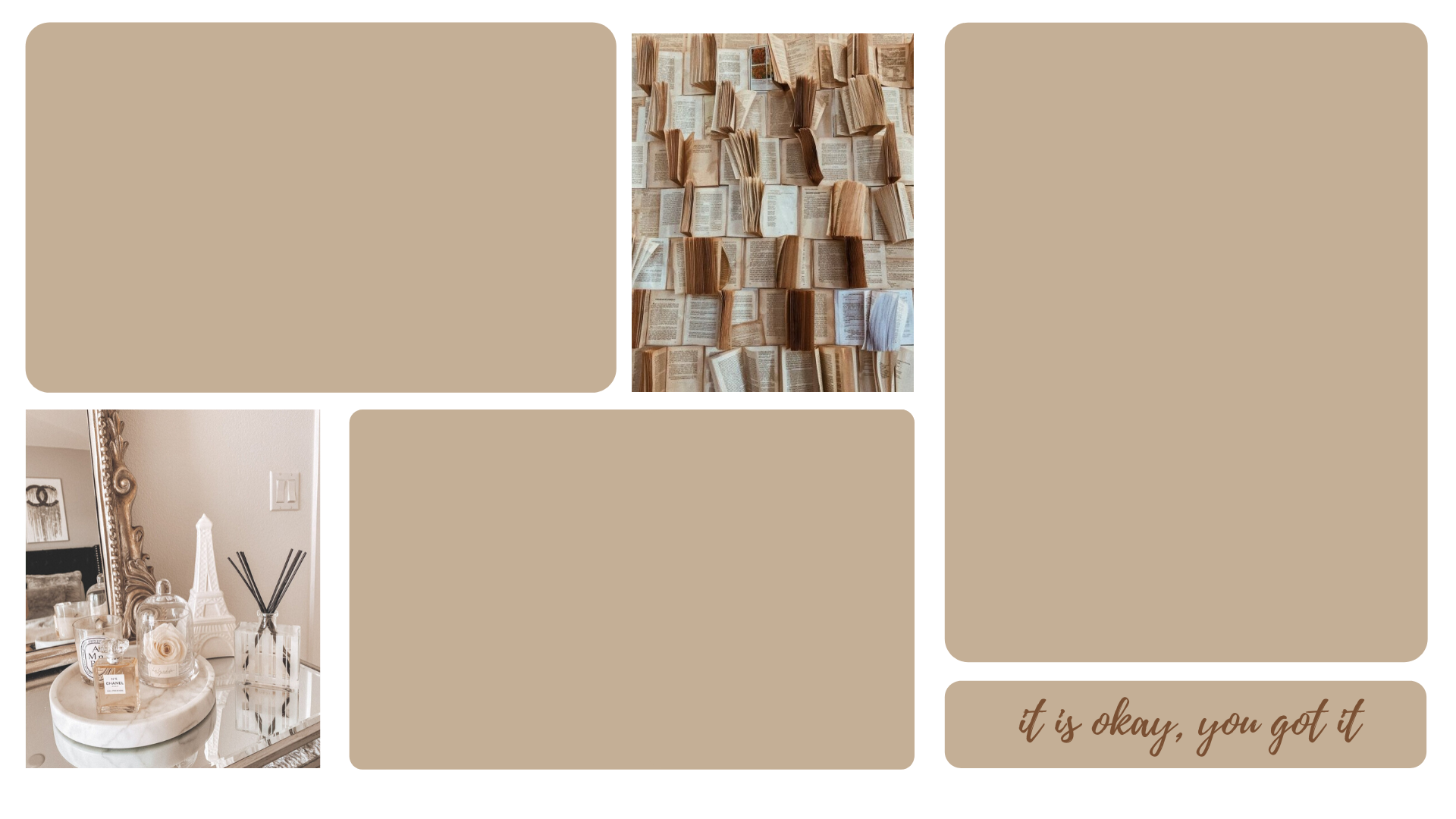 Spice up your room! Aesthetic Beige Boujee Wall Collage