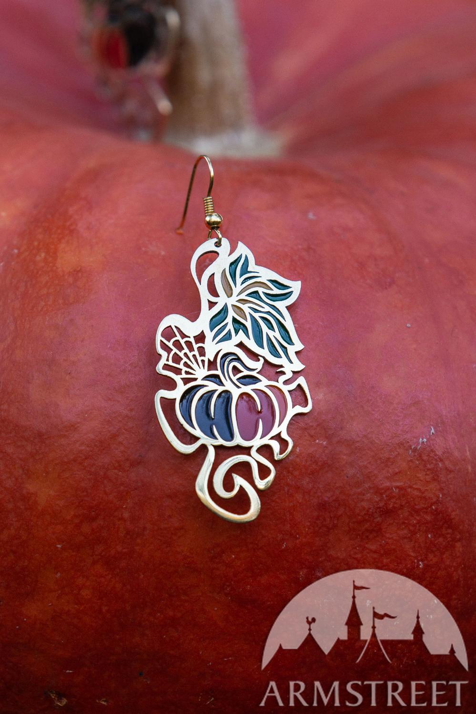 Photo of Halloween Pumpkin Brass Earrings