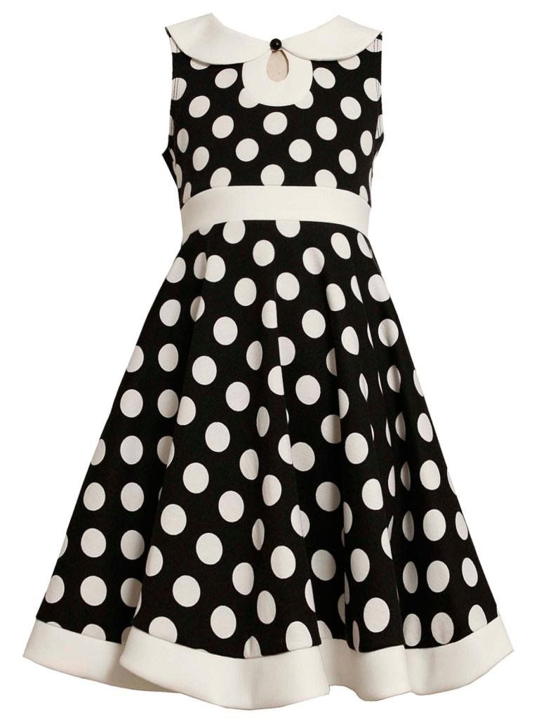 Black White Polka Dot Keyhole Neckline Knit Dress Bk4stbonnie Jean