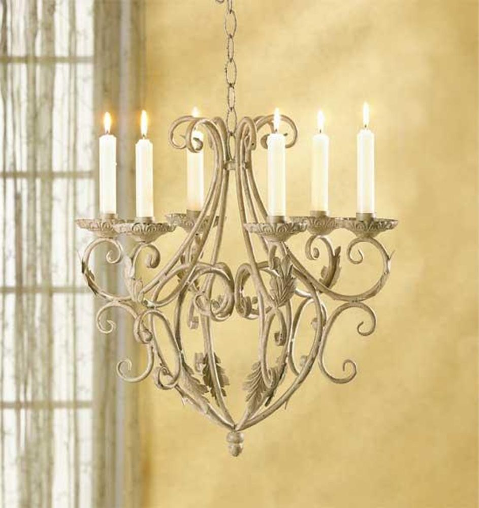 Antique style candle holder chandelier wrought iron metal elegant ...