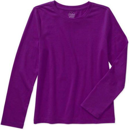 51c936eea Faded Glory Girls' Long Sleeve Crew Neck Tee, Size: 6/6X, Purple ...