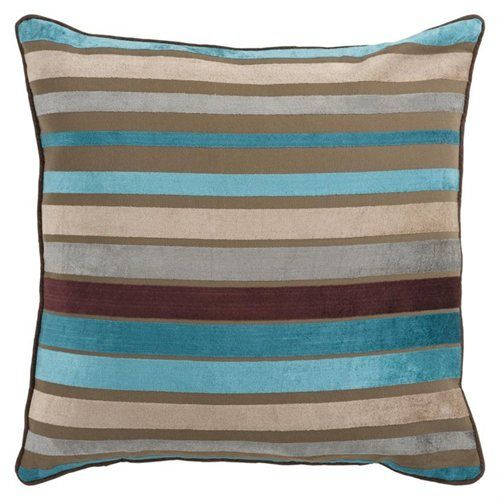 22 Quot Bright And Vibrant Brown And Teal Striped Decorative