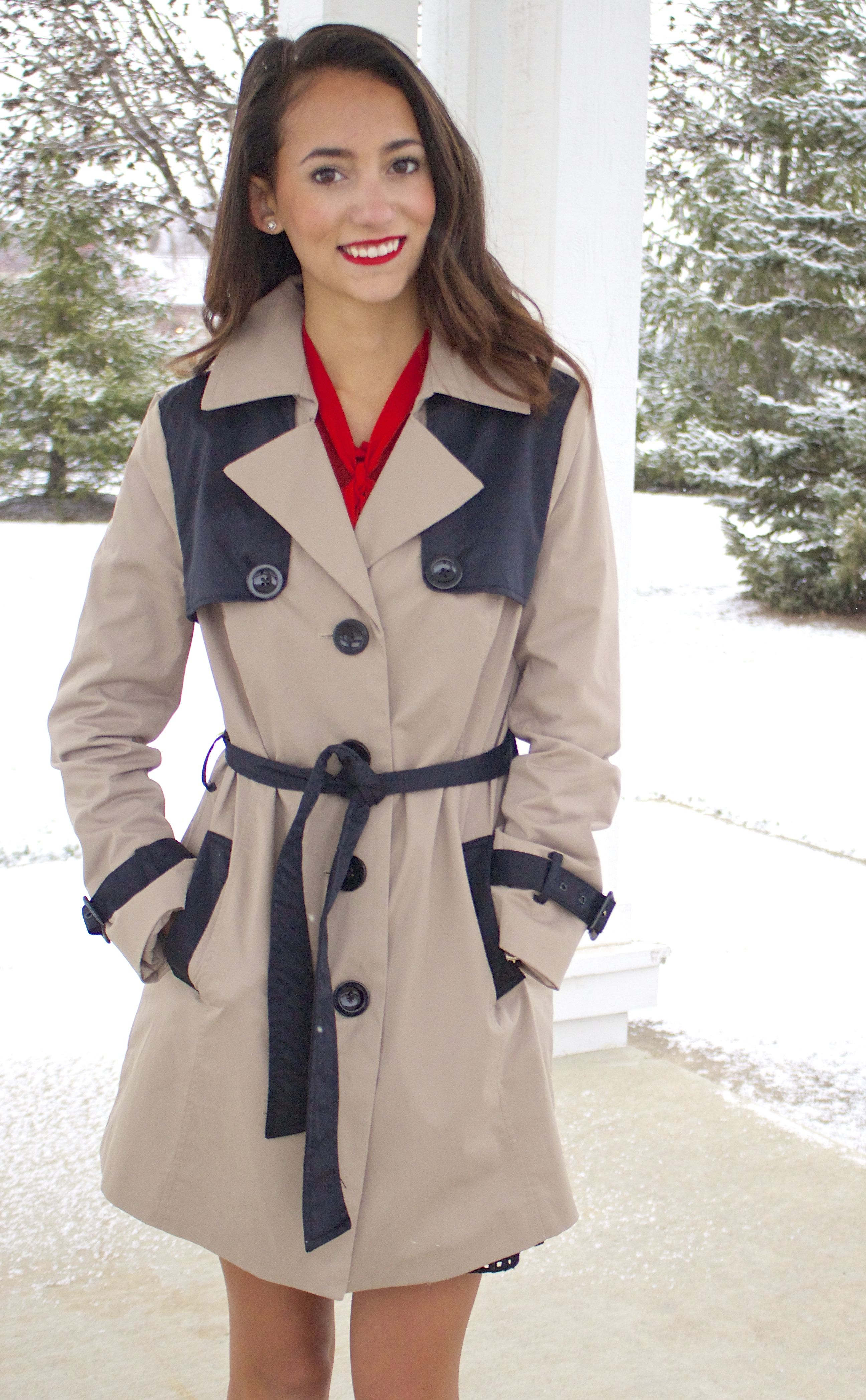 Tan and black trench coat, red bow top, christmas holiday outfit 2014