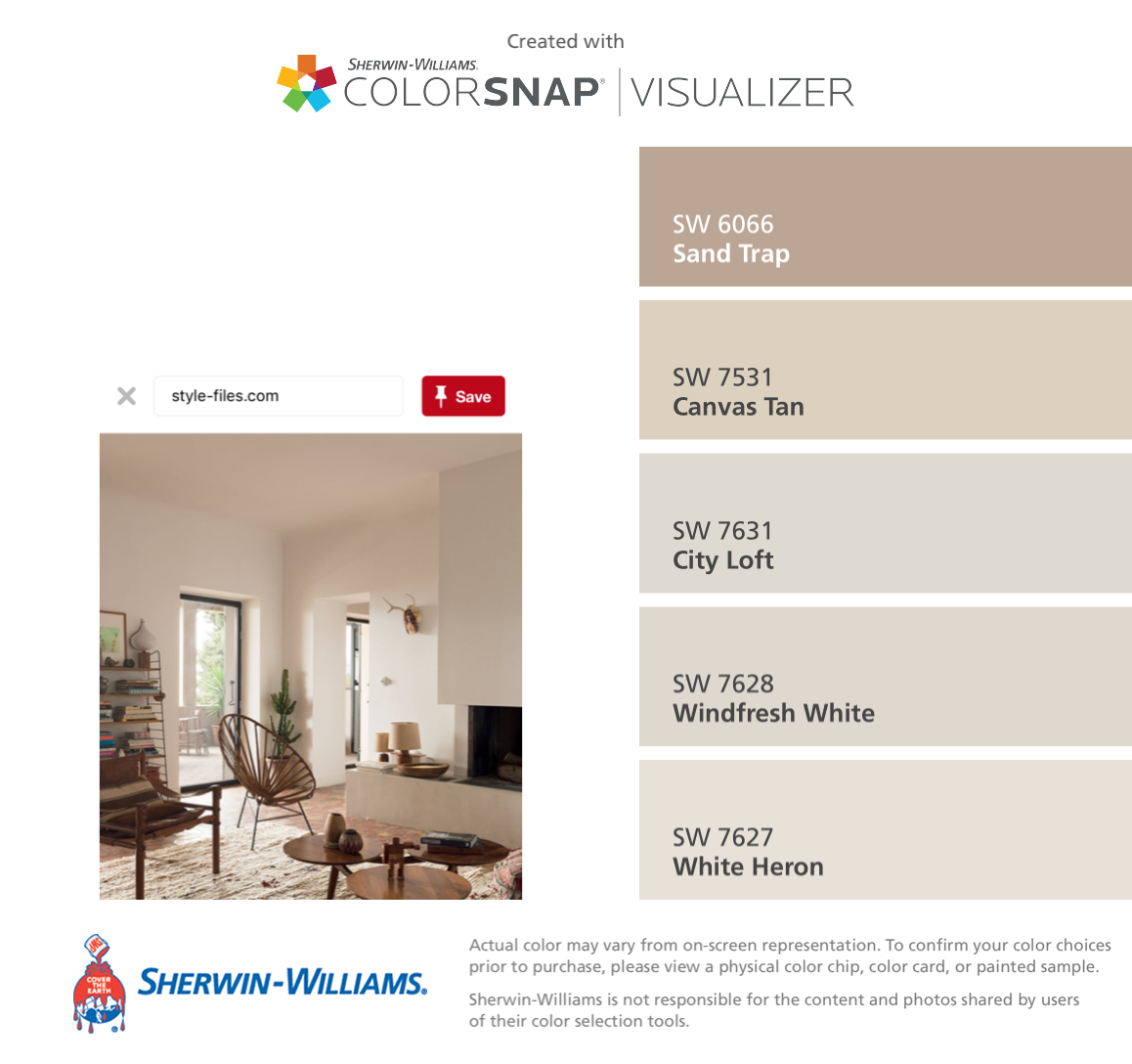I found these colors with ColorSnap® Visualizer for iPhone by Sherwin-Williams: Sand Trap (SW 6066), Canvas Tan (SW 7531), City Loft (SW 7631), Windfresh White (SW 7628), White Heron (SW 7627). #cityloftsherwinwilliams