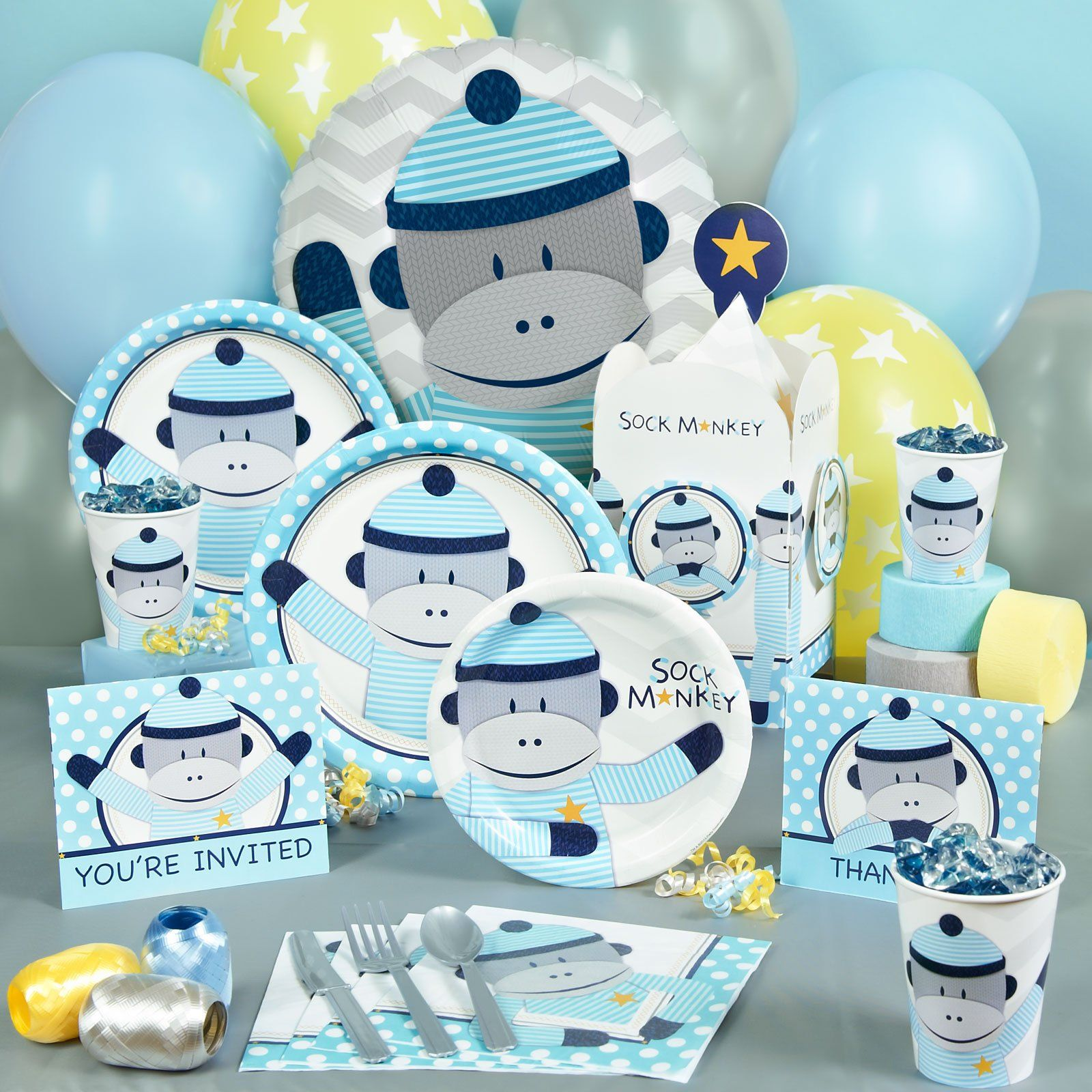 Sock Monkey Blue Baby Shower Party Supplies