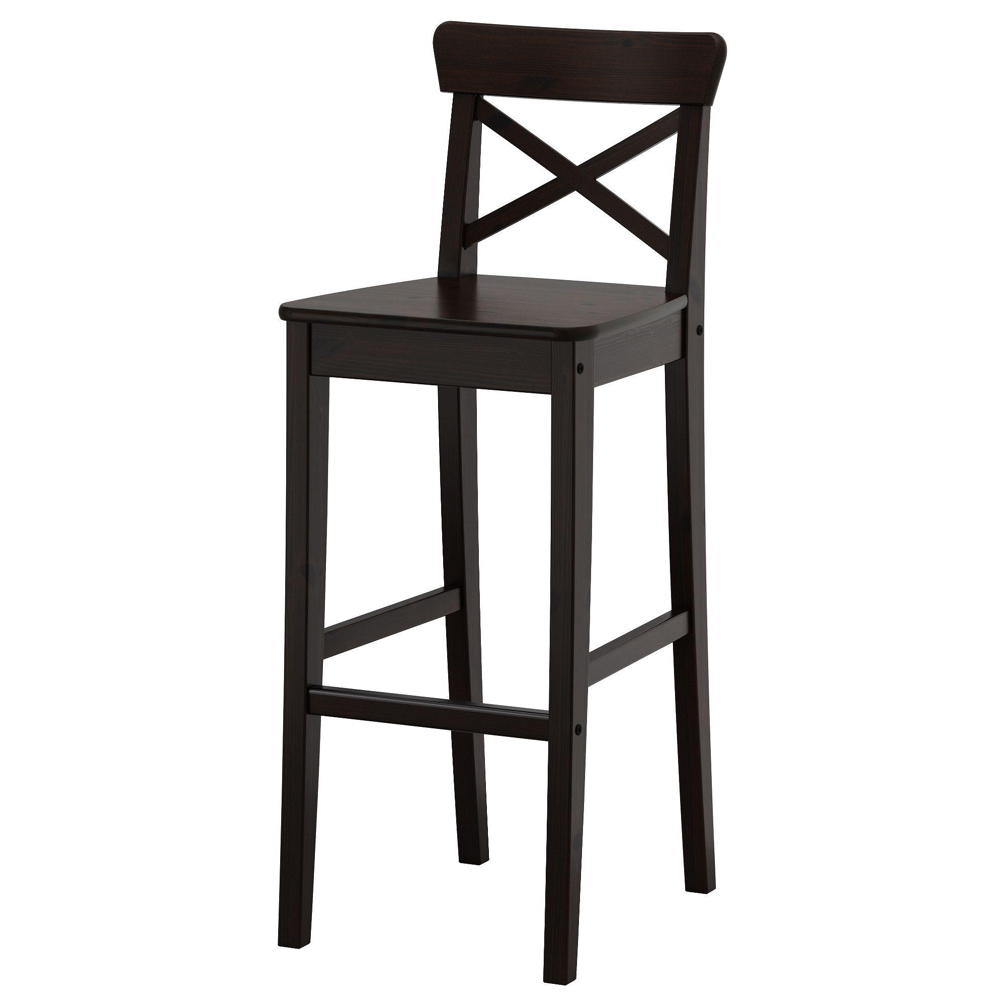 INGOLF Bar stool with backrest, brown-black - IKEA  Ikea