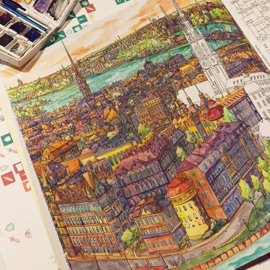 Fantastic Cities adult colouring book | Coloring-Fantastic Cities ...