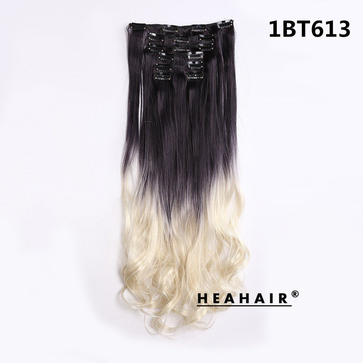 Heahair Full Head Ombre Black To White Blonde Synthetic Curly Clip