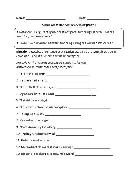 Similes And Metaphors Worksheets Beginner Intermediate And