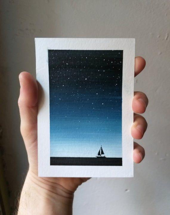 Photo of Small original watercolour painting – Sailing boat on the sea below the stars, ocean art, nautical w