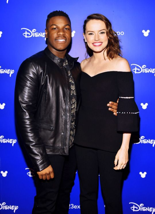 "strwrsdaily "" John Boyega and Daisy Ridley attending D23"