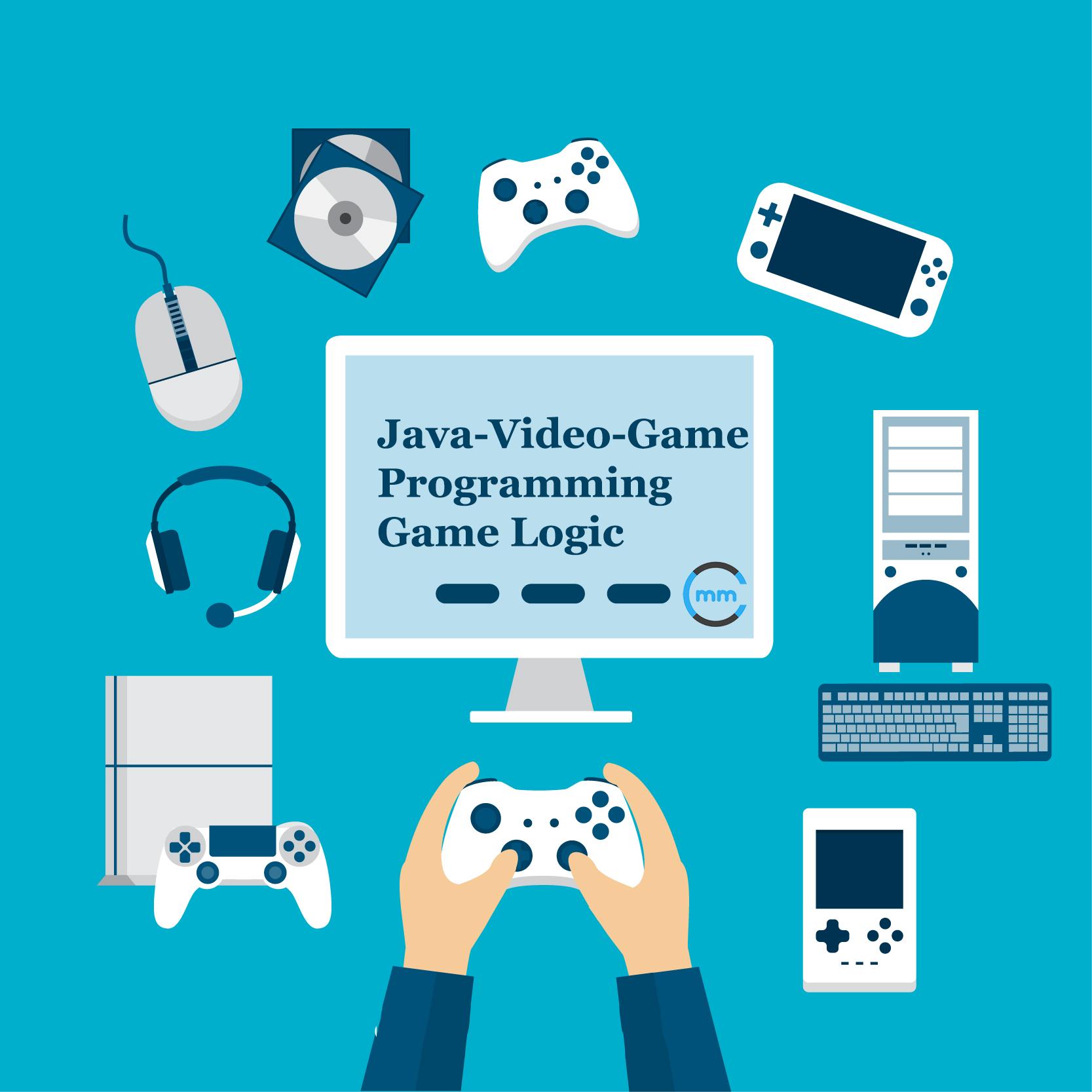 Java video game programming game logic java game programming and player with video game elements in flat design free vector baditri Images