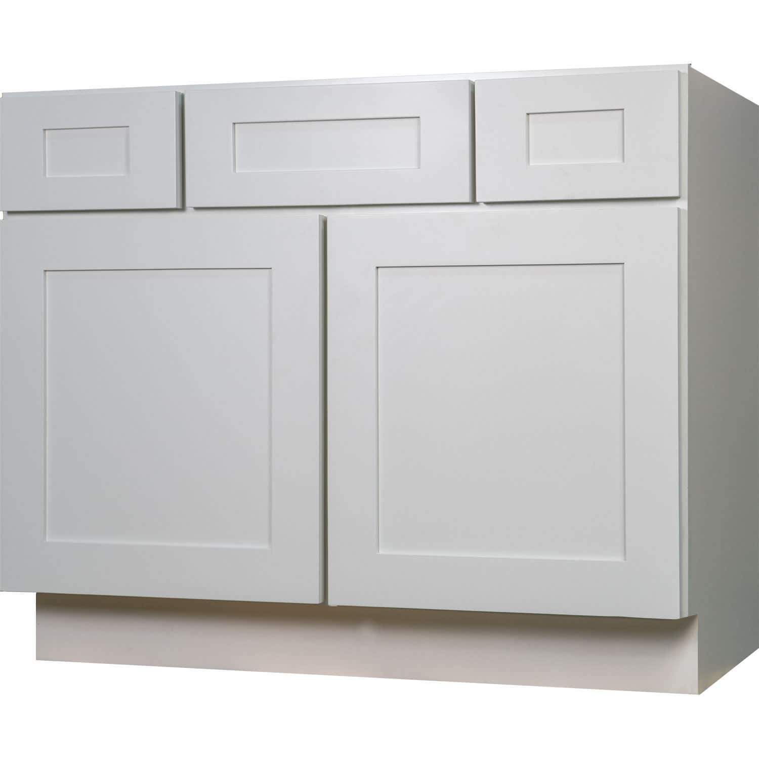 Everyday Cabinets Shaker 42-inch White Wood Single Sink Bathroom ...
