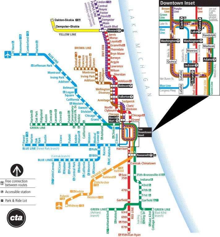 Chicago CTA L Train map Subway Charts Pinterest