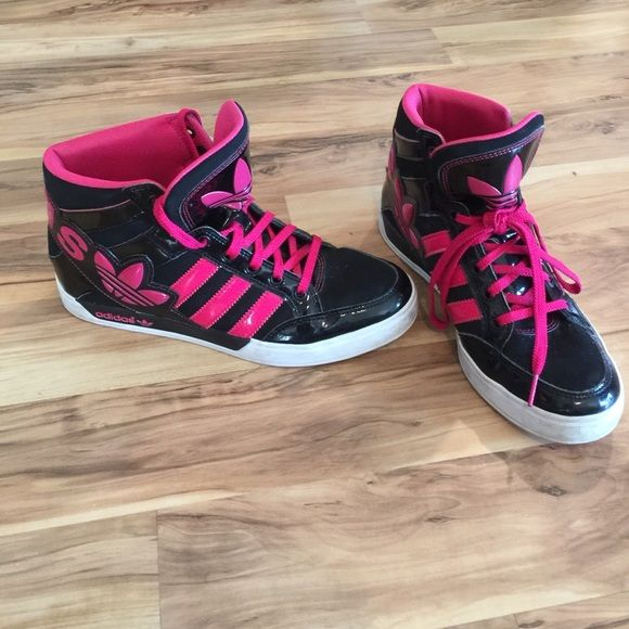 Adidas Women Shoes High Top Sneakers Pink Grey White Size 7