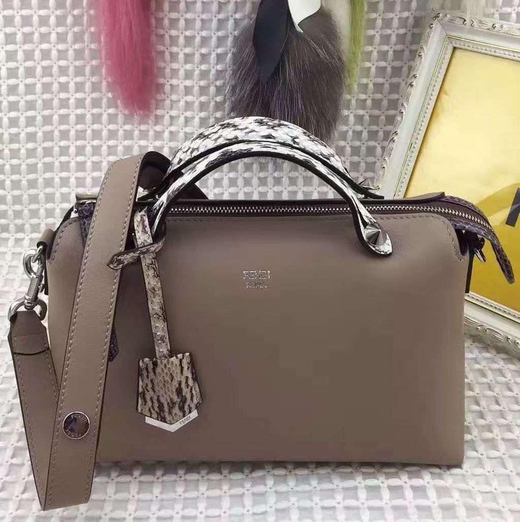 97c938f019 Fendi Small Boston By The Way Bag With Python Handle Beige 2016 ...