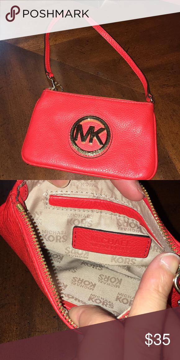 bc950ca2b22b Mk wristlet Red orange wristlet MK Michael Kors Bags Clutches   Wristlets