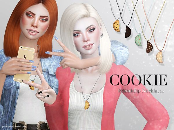 Cookie Friendship Necklaces by Pralinesims at TSR via Sims 4 Updates