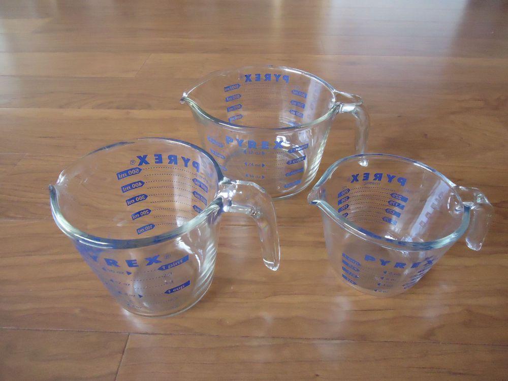 Set Of 3 Vintage Pyrex Measuring Cup Bowl Blue Lettering 1 Cup 2 Cups 4 Cups Pyrex Vintage Pyrex Measuring Cup Pyrex