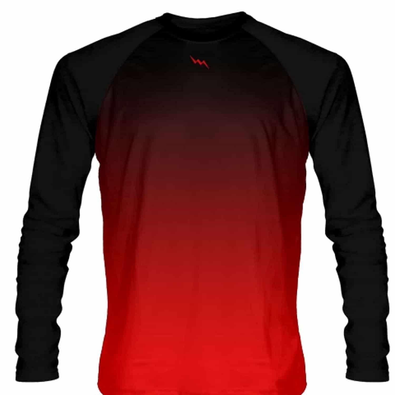 Lightningwear black red fade ombre long sleeve shirts